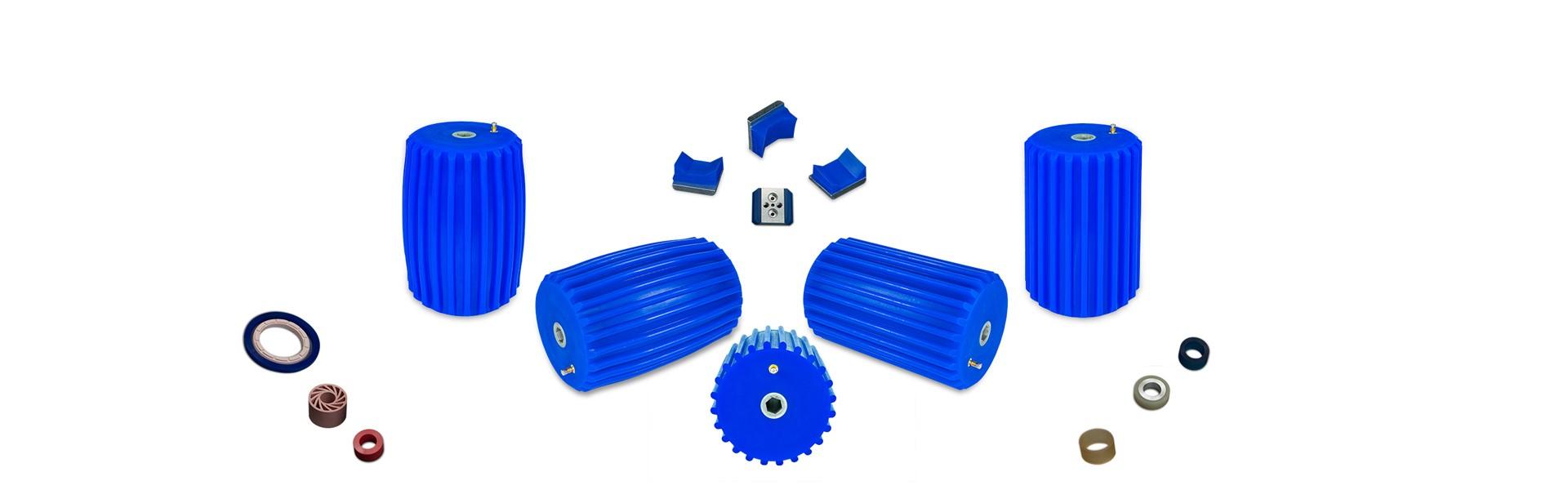 Einzelteile einer Gummidruckwalze