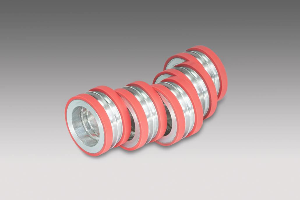 Chromwalzenrollen mit roter Gummibeschichtung