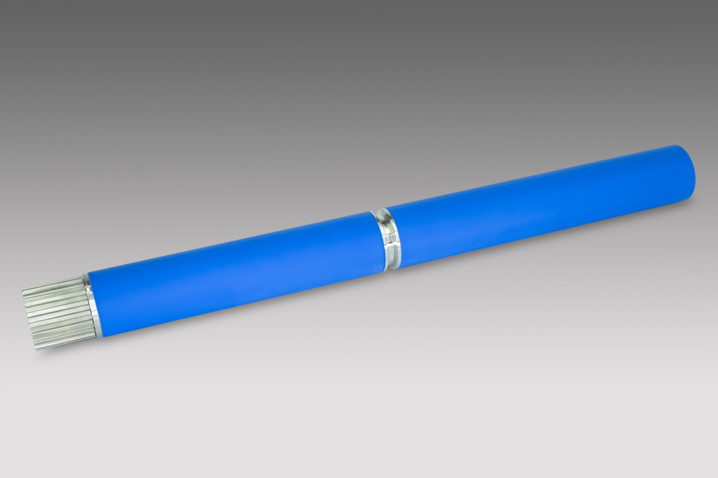 Chrom Transportwalzen Rolle blauer Mantel