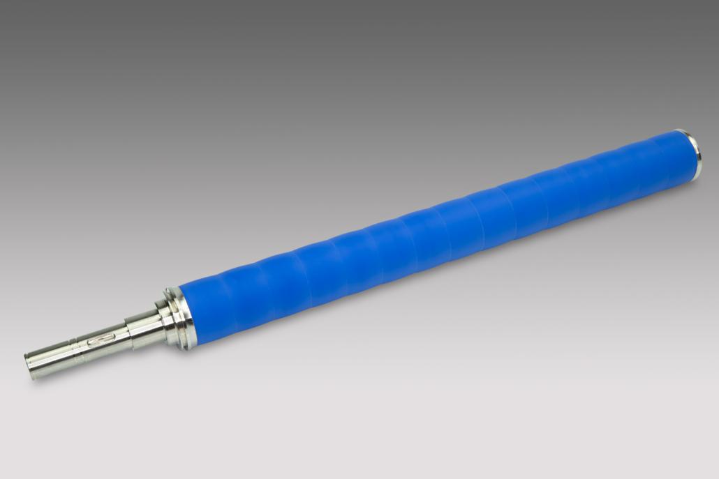 Chrom Transportwalze mit blauer Ummantelung